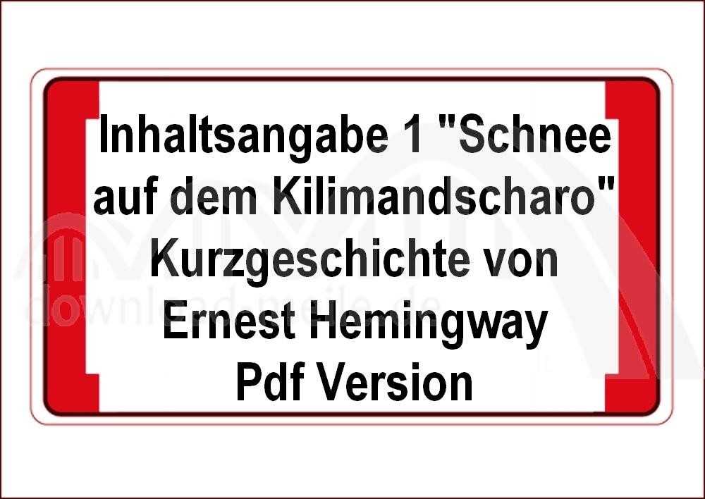 Download Meilede Schnee Auf Dem Kilimandscharo Von Hemmingway